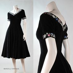 1950's Embroidered Black Velvet Dress With Frances Prisco Label  Marzilli Vintage Exclusive to Ruby Lane