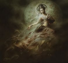 ONE WHO HEARS THE CRY OF THE WORLD... Mother of Compassion [Kuan Yin (Ma-Quan Yin) or Guanyin (Guanshiyin), which means 'Perceiving The Sounds (or Cries) of The World' also referred to as Guanyin Bodhisattva]... by Zeng Hao Dun Huang (aka Zeng Hao, b1978?, Sichuan; The Vice President of The Chinese Buddhist Artists Association) http://zhdhart.com/en/index.php + http://paintingswholesaler.com/artist.asp?artist=Zeng%20Hao