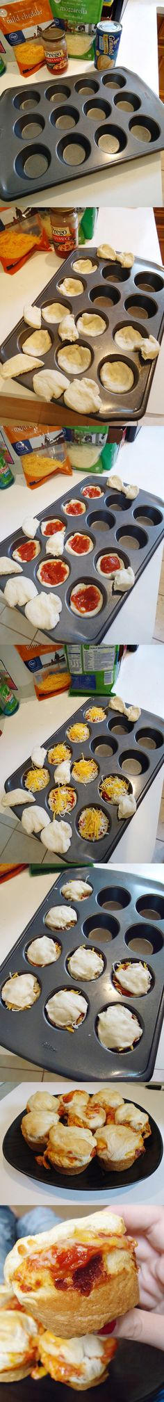 Pizza cupcakes - Made this ! Super delicious and moist. Used a larger cupcake pan though and mozzarella cheese. Think Food, I Love Food, Food For Thought, Good Food, Yummy Food, Yummy Eats, Pizza Recipes, Appetizer Recipes, Snack Recipes