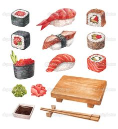 Similar Images, Stock Photos & Vectors of Sushi poster watercolor hand drawn with stains - 233636107 Sushi Drawing, Food Drawing, Drawing Studies, Food Illustrations, Creative Inspiration, Food Art, Royalty Free Stock Photos, Watercolor, Meals