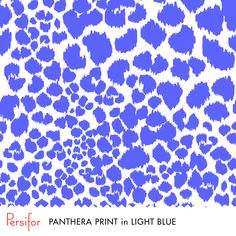 Persifor Panthera Print in Light Blue. Bright, bold Pantone colors. Unique prints. Animal Print. Panthers.