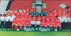 Squad picture for the season - LFChistory - Stats galore for Liverpool FC! Squad Pictures, Squad Photos, Team Photos, Liverpool Fc Team, Emile Heskey, Jamie Redknapp, Michael Owen, Red Team