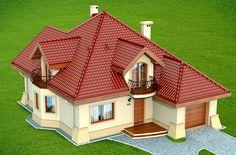 Wizualizacja DN Modena CE Two Story House Design, House Gate Design, Kerala House Design, Simple House Design, Bungalow House Design, Modern Bungalow, Sims House Plans, Family House Plans, Dream House Plans