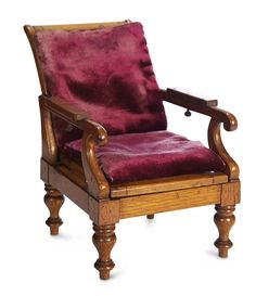 Early Walnut Reclining Chair,Possibly Salesman's Sample. Mid 19th century. http://Theriaults.com