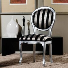 Home Design Ideas Silver Furniture, Funky Furniture, Refurbished Furniture, White Furniture, Furniture Makeover, Painted Furniture, Chair Upholstery, Upholstered Chairs, Painted Chairs