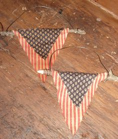 Hanging Wire & Twig Patriotic Flag Banner by LizziesCabin on Etsy, $4.95