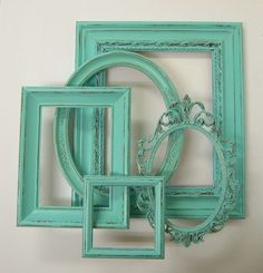Picture Frame Set Shabby Chic Frames Distressed Aqua Turquoise Home Decor Ornate Frame. $79.00, via Etsy.
