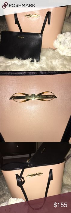 Authentic Ted baker Tote!!🛍🎀 Beautiful blush pink bag. Color is in the pinkish nude palate. Fits books 📚 makeup bag and more!! Also as an attached wristlet for small accessories such as lipstick, compact mirror and money!!💰 email me for more pictures. It's in great condition. Ted Baker London Bags Totes