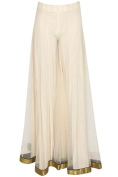 simple, elegant Agunj by Gunjan Arora @ via Pakistani Outfits, Indian Outfits, Salwar Kameez, Sharara, Kurta Designs, Blouse Designs, Fashion Pants, Fashion Outfits, Pants For Women