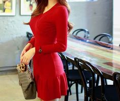 Solid Color Ladylike Style Ruffles Acrylic Long Sleeves Beam Waist V-Neck Women's DressSweater Dresses | RoseGal.com