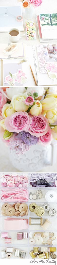 soft yellows, pinks and lilac tones of early spring with a soft craft paper brown and some milky whites