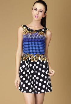 Blue Black Sleeveless Polka Dot Floral Dress
