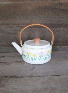 Mid Century White Enamel Teapot with Wood Handle and Knob Vintage Enamel Teapot Retro White with Flowers Teapot with Wood Handle
