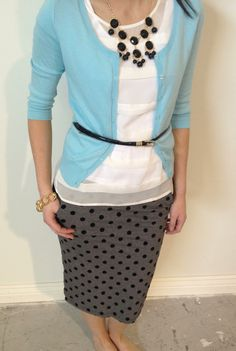 Wear To Work Outfit: Polka dot skirt and mixing of gray/black and powder blue - super cute! Work Fashion, Modest Fashion, Mode Style, Style Me, Pretty Outfits, Cute Outfits, Modest Outfits, Modest Clothing, Work Wardrobe