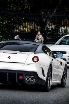 My favorite car in the world, undisputed champ. Ferrari 599 GTO in white with carbon fiber and red accents.