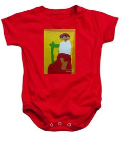Patrick Francis Red Designer Baby Onesie  featuring the painting Italian Woman 2014 - After Vincent Van Gogh by Patrick Francis