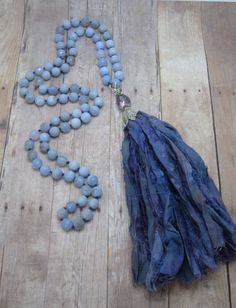 Faceted Blue Lace Agate Necklace paired with a silk tassel upcycled from Sari Silk from India entire store 20% use coupon code PEACE20 at checkout
