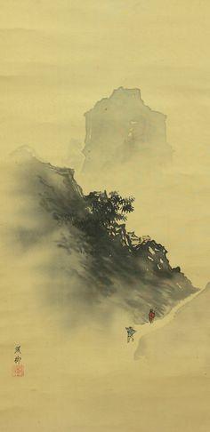 On the way to the temple. Camino al templo. Traditional japanese painting. Pintura tradicional japonesa. Kakejiku.
