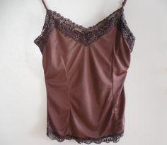 "Brown lace camisole brown camisole brown cami brown lace cami small 30"" 32"" 34""…"