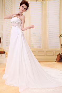 White Flowers/Crystals Chapel Train Natural Sleeveless Romantic A-line Zipper Chiffon Floor-length Square Wedding Dress