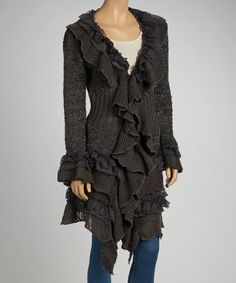 Take a look at this Gray Ruffle Wool-Blend Duster by JohnFashion on #zulily today!