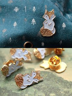 Little Forest Fox Enamel Pin White and Gold by Trazofresco on Etsy