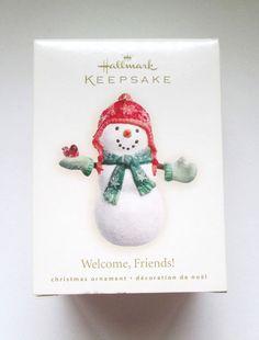 Hallmark Ornament Welcome Friends Snowman Dated 2007 With Box Handcrafted #Hallmark