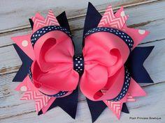 Girls hair bows Navy blue Pink Hair bows by PoshPrincessBows1