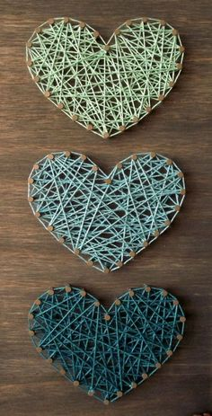 three hearts hombre choose your colors custom string art