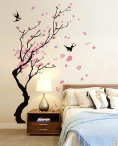 adesivo murale wall sticker rami con rondini misure 104x150 cm decorazione parete