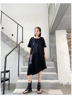 Fashion Irregularity Letter Print Dress - rrdeye Midi Dress Plus Size, Plus Size Dresses, Long Sleeve Short Dress, T Shirt World, Pleated Maxi, Urban Dresses, Cotton Style, Vintage Tops, Cotton Dresses