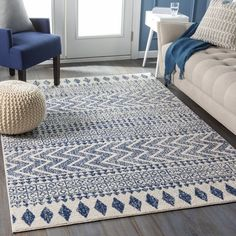 Union Rustic Kreutzer Southwestern Dark Blue/Light Gray Area Rug Rug Size: Rectangle x Dark Blue Rug, Blue Grey, Gray, Chevron Area Rugs, Blue Area Rugs, Scandinavian Pattern, Chevron Patterns, Grey Rugs, Online Home Decor Stores