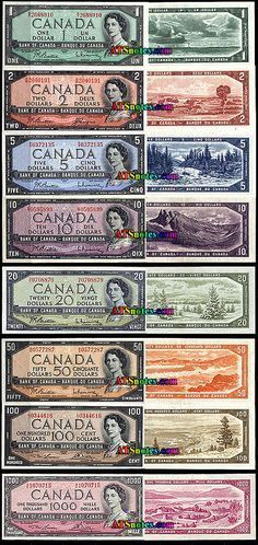 1954 Canada banknotes - Canada paper money catalog and Canadian currency history Canadian Coins, Canadian History, Canadian Culture, Old Coins, Rare Coins, Old Money, Thinking Day, Canada Day, Coin Collecting