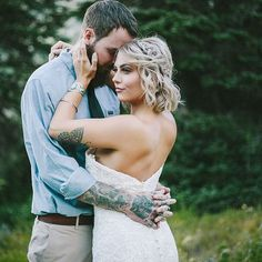 I sure love me some alternative brides/grooms! And I love the way the evergreens in the background tie into their tattoos. The Dress: Allure Style 9254 Modest Bridesmaid Dresses, Bridal Dresses, Wedding Gowns, Lace Dresses, Prom Dresses, Alternative Bride, Allure Bridal, Wedding Inspiration, Wedding Ideas
