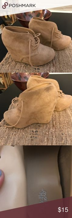 Charlotte Russe size 7 Cute wedge faux suede booties Charlotte Russe Shoes Ankle Boots & Booties
