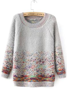 7676b72073aafd Grey Round Neck Mohair Sweater with Colorful Dots 25.00 Knitting Projects