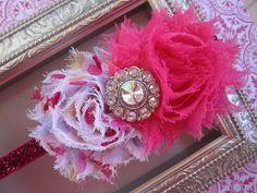 Pink and Polka Dot Shabby Chic Rosette Headband with Rhinestone - Glitter Elastic Headband -