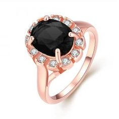 Dresslink - Dresslink Black Classic Rose Gold Plated Plant Shape Prong Setting Party Ring - AdoreWe.com