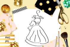 Storybook Dress Coloring (Graphic) by Revidevi · Creative Fabrica Coloring Books, Coloring Pages, Digital Stamps, Gift Cards, Making Ideas, Craft Projects, How To Draw Hands, Card Making, Drawings