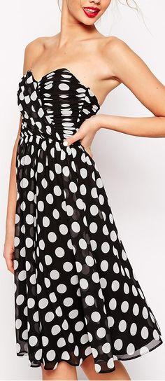 spot bandeau dress