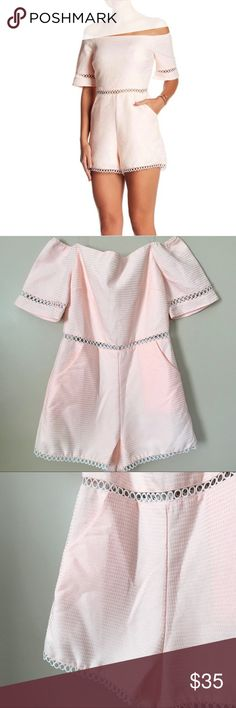 """NWT Baby Pink Off Shoulder Lace Romper NWT Baby Pink Off Shoulder Lace Romper by Just me from Nordstrom. Pockets. Some sheen to the color. A few small pills are shown. Size medium. 36"""" bust. 29"""" waist. 40"""" hips. 25"""" from top of bust to bottom of Shorts. New Nordstrom Pants Jumpsuits & Rompers"""
