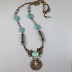Bronze and turquoise necklace made By Ziza, Scandinavia