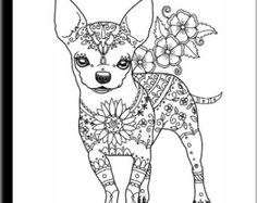 Art of Chihuahua Coloring Book Volume No. 1 by ArtByEddy on Etsy