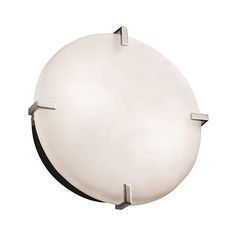 Fusion Polished Chrome 12-Inch Wide LED Round Clips Flush Mount with Opal Glass