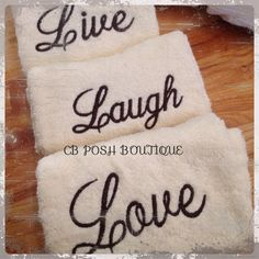 Gift a special friend/family member with these BEAUTIFUL, set of 3 embroidered bathroom hand towels. These are simple, chic, and unique. Choose from a variety of colors. Stitching can be done in different colors. Perfect for a wedding, bridal shower, anniversary, Christmas, Birthday, or Just Because.   All items are purchased and embroidered in a SMOKE FREE, CLEAN studio. Solid Embroidery. https://www.etsy.com/listing/213740618/live-laugh-love-embroidered-hand-towel