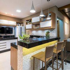 58 Unique Kitchen Island Design Ideas For Home Small Modern Kitchens, Modern Kitchen Island, Kitchen Sets, Beautiful Kitchens, New Kitchen, Kitchen Dining, Kitchen Decor, Kitchen Islands, Kitchen Cabinets