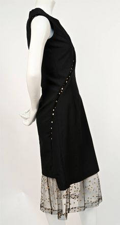 1997 COMME DES GARCONS black runway dress with metallic dotted tulle | From a collection of rare vintage evening dresses at https://www.1stdibs.com/fashion/clothing/evening-dresses/
