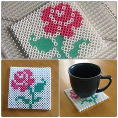 DIY - coasters made with Hama beads following a cross-stitch pattern. Pärlplattor.