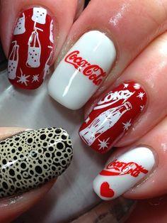 Coca Cola stamped nail designs and I'm in love. Crazy Nails, Fancy Nails, Love Nails, Pretty Nails, My Nails, Cute Nail Art, Cute Acrylic Nails, Acrylic Nail Designs, Food Nail Art