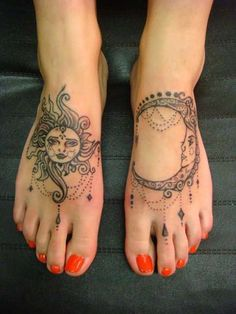 foot tattoos for women | Sun and Moon Foot Tattoos - Tattoo Shortlist